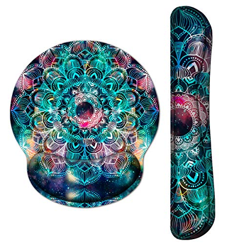 iVeze Keyboard Wrist Rest Pad and Mouse pad with Wrist Rest Support Set, Non Slip Rubber Base Wrist Support Mousepad with Ergonomic Comfy Gel Memory Foam for Home Office Efficient Working(Mandala Art)