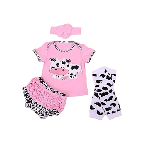 3441066f064677 Baby Rae Pink Cow Clothing 4 in 1 Set: Cow Shirt+Head Band+