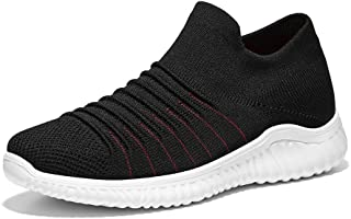 XUJW-Shoes, Fitness Traning Sneakers for Men Running Shoes Slip on Breathable Knit Mesh Fabric Lightweight Shockproof Hollow Outsole Durable Comfortable (Color : Black, Size : 7 UK)