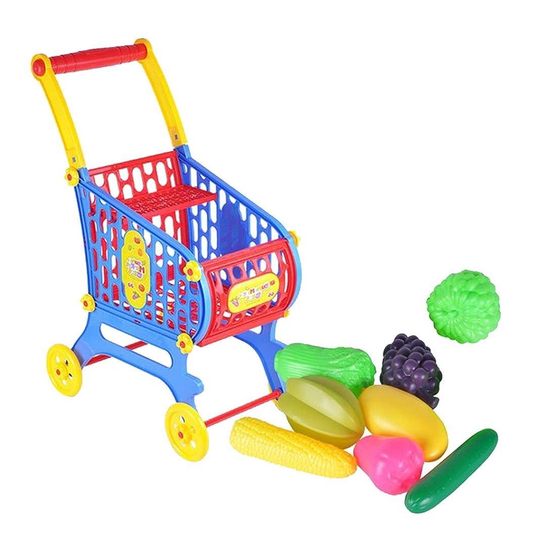 朝食を食べるギャップオーバーフロー子ども おままごとおもちゃ 果物 野菜 ショッピングカート トロリー プレーセット