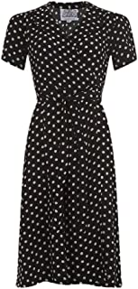 Seamstress Of Bloomsbury Navy with White Spots 1940s Peggy Wrap Dress