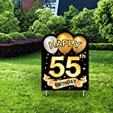 Yangmics Direct 55th Birthday 1966 - Outdoor Lawn Sign - Yard Sign - 1 Piece -Black Gold