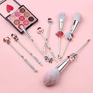 Christmas Wand Makeup Brush Set - 8pcs Wand Makeup Brushes with Christmas Cartoon Handle for Blush, Foundation, Eyebrow, Eyeshadow, and Lips, Prefect Christmas Gift for Sister (Red)