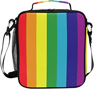 Best Colorful Rainbow Stripe Flag Lunch Box Insulated Lunch Bag Large Freezable Pride Gay Lesbian Support Peace Love Lunch Bag Tote Cooler Lunch Meal with Shoulder Strap for School Kids Boys Girls Review