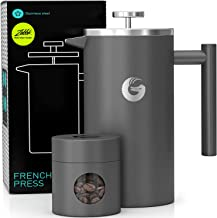 Coffee Gator French Press Coffee Maker- Insulated, Stainless Steel Manual Coffee Makers For Home, Camping w/ Travel Canist...