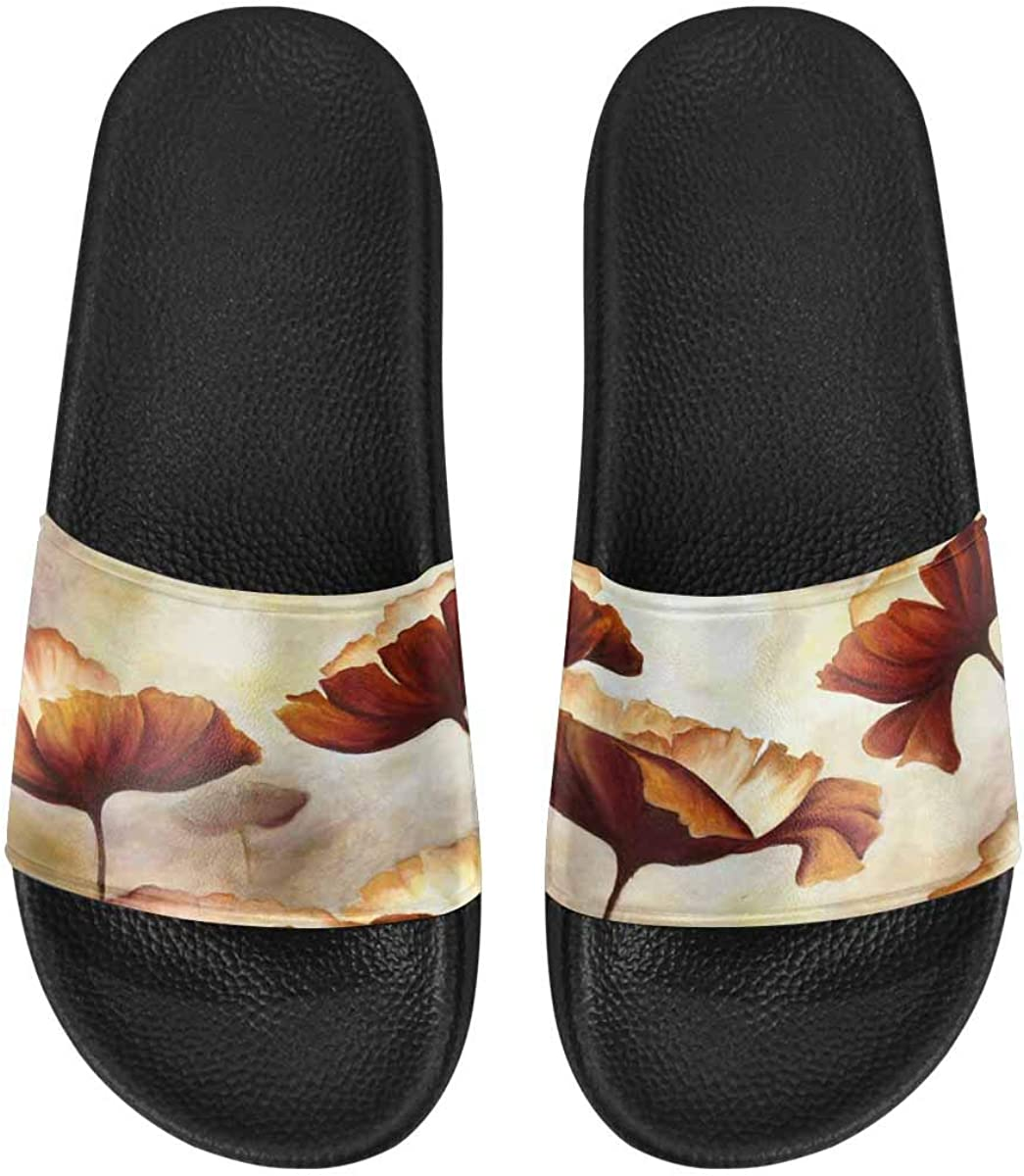 InterestPrint Women's Slide Sandals with PVC Straps and Sole Owls Under The Rain