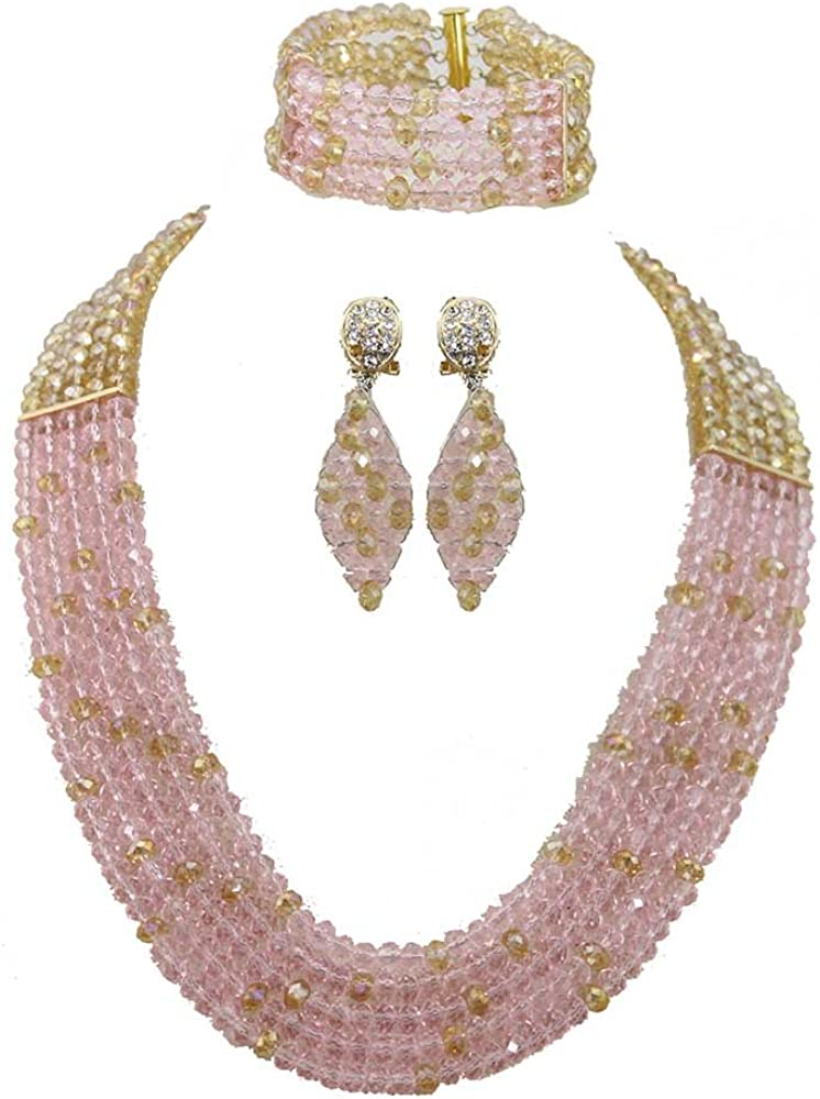 Africanbeads Wedding Jewelry Set 6mm 5 Rows Pink Gold Crystal Beads Necklace Set