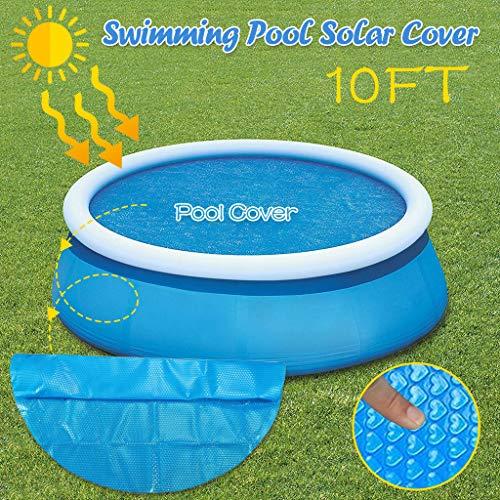 Longra Pool Solarplane Cover für Runde Pools Poolheizung,Blau (300cm rund)