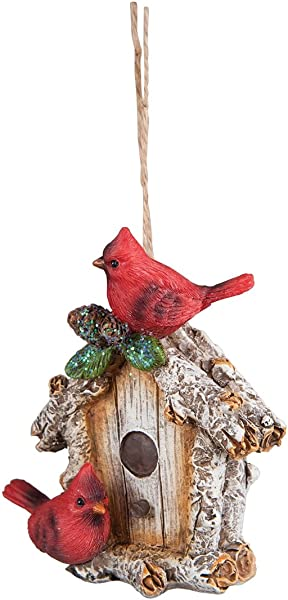 Christmas Tree Ornament Hanging Xmas Holiday Decoration Decorative Embellishment In Winter Holliday Design Cardinal Birdhouse 4 Inches