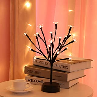 BHCLIGHT 20LED Cherry Blossom Bonsai Light, Tree Lamp Battery Operated Home Decor Artificial Plants