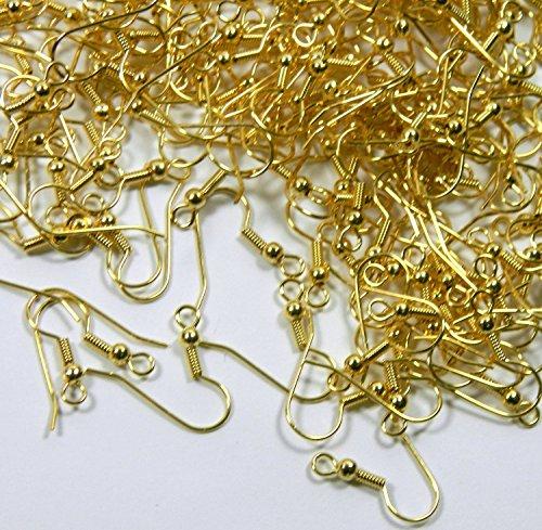 Monachelle Vogholic, ganci ad uncino per orecchini, in acciaio chirurgico, ipoallergenico e placcato in oro. Gancio ad uncino con pallina da 10x 3,5mm e spirale aperta, calibro 21 (circa 100 paia)