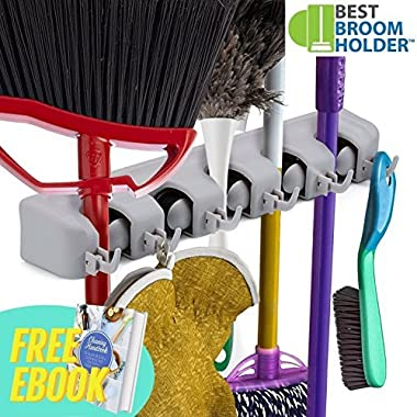 Wall Mounted Non Slide Mop Broom Holder and Rake Garden Tool Organizer with 6 Hooks and 5 Slots Up to 1.25  Handle - Quick Installation with Mounting Screws - E-Book Included