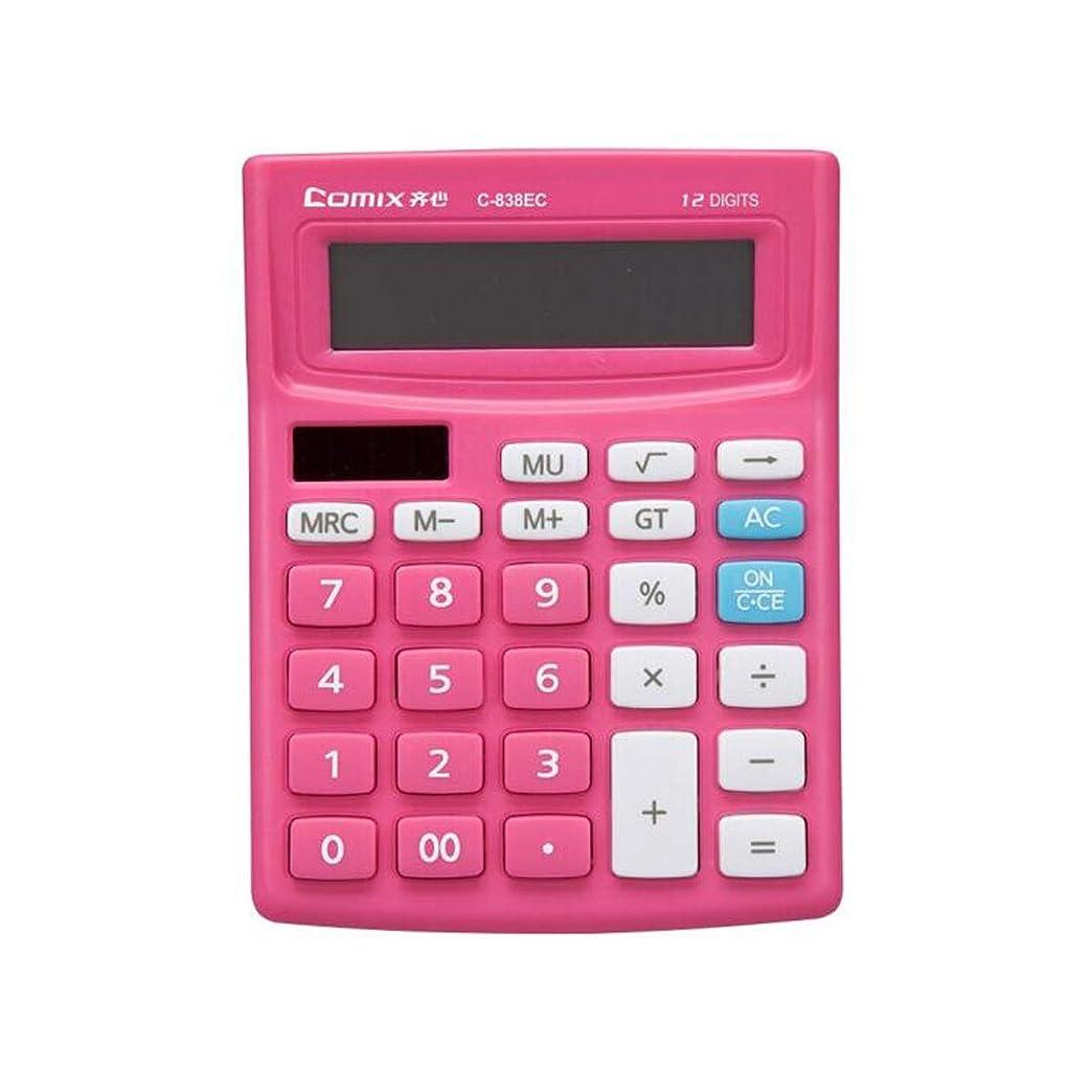 創傷メドレー廊下GUYUEXUAN 電卓 12ビット スタイリッシュ ソーラーデュアルパワー電卓 ピンク オフィス文房具 GUYUEXUAN