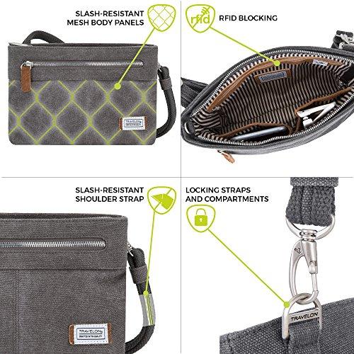 Travelon Women's Anti-Theft Heritage Small Crossbody Cross Body Bag, Pewter, One Size - 33226 540