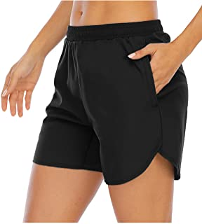 Women's 5'' Workout Running Shorts with Mesh Liner Zipper Pockets Gym Training Quick Dry