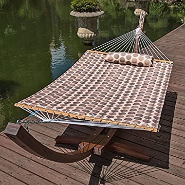 Lazy Daze Hammocks 55  Double Quilted Fabric Hammock Swing with Pillow (Romantic Coffee Bean)