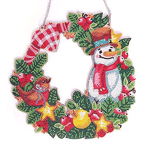 Shuguan Corona de puerta de Navidad 8D con diamantes de imitación hechos a mano para decoración de pared
