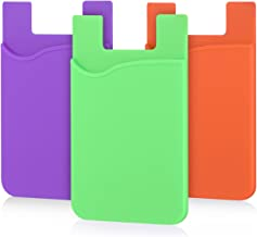 Adhesive Card Sleeves, Pofesun Silicone Adhesive Credit Card Holder for Cellphone Stick-on Wallet Compatible iPhone iPad Samsung Galaxy Android Smartphones, Refrigerator, Door-(Purple, Green, Orange)