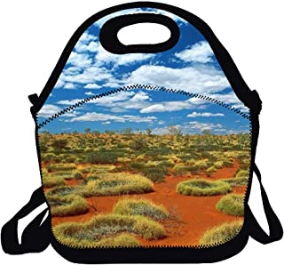 Neoprene Insulated Lunch Bag For Women Cooler Lunch Box For Adult Waterproof Lunch Tote Bag Grass Desert Australia