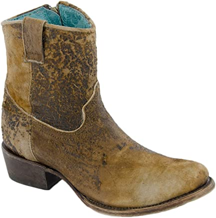e8789caff754 Corral Boot Company Womens Chocolate Tan Lamb Abstract Shortie Cowgirl Boots