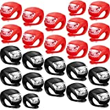 24 Pieces Bicycle Light Front and Rear Silicone LED Bike Light Bike Headlight and Taillight Multi-Purpose Waterproof Bike Light for Cycling with 48 Pieces Batteries Included
