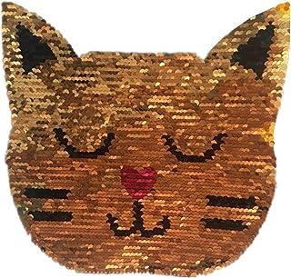 Plus Nao(プラスナオ) スパンコールワッペン 色が変わる ネコ ウシ アニマル アップリケ ハンドメイド 手芸用品 パーツ 装飾 大きい