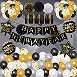 New Years Eve Party Supplies 2022 - Happy New Year Decorations 2022,Happy New Year Banner and Confetti Balloons,2022 New Years Decorations for Home,Office,Ceiling