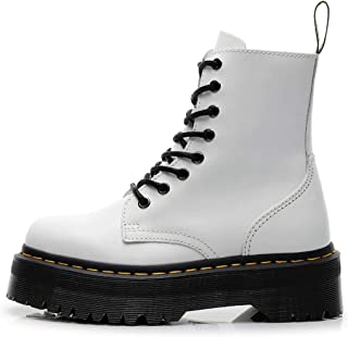 Dr. Martin unisex boots 8-hole thick-bottom Martin boots side zipper short boots lace-up tooling boots Leather motorcycle boots Unisex Adults' Boots (Color : White)
