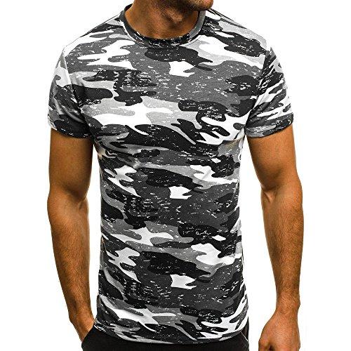 PPangUDing T-Shirts Herren Sommer Kurzarm Rundhals Camouflage Printed Slim Fit Pullover Blouse Tops, Männer Täglichen Casual Outdoor Reise Wild Fitness Sport Trainingsoberteil Oberteil