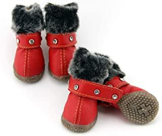 SENERY Warm PU Small Dog Shoes Winter Waterproof Rhinestones Pet Snow Boots Non-Slip Puppy Cat Booties