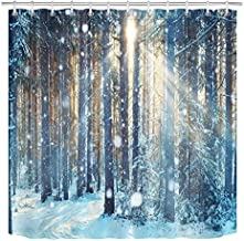 LB Winter Shower Curtain Set Jungle Forest Wood Tree in Snow Bathroom Curtain with Hooks 72x72 inch Waterproof Polyester Fabric Bathtub Curtain