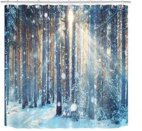 LB Winter-Duschvorhänge für Badezimmer, Dschungelwald, Holz, Baum im Schnee, Duschvorhang-Set mit 12 Haken, 182,9 x 198,1 cm, extra lang, Polyestergewebe, wasserdicht