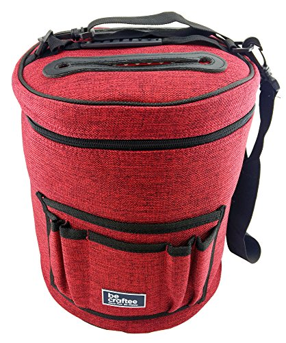 BeCraftee BEST YARN BAG/ KNITTING BAG. Portable, Light and Easy to Carry. Yarn Storage Bags have Pockets for Crochet Hooks & Knitting Needles. Slits on Top to Protect Wool and Prevent Tangling.