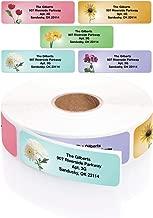 Garden Blossoms Designer Assorted Rolled Address Labels with Elegant Plastic Dispenser
