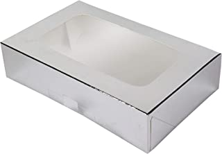 O'Creme Rectangular Window Pie Box 8.5 Inch x 5.5 Inch x 2 Inch High - 200 Pieces Silver