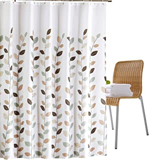 Wimaha Fabric Shower Curtain with Fresh Leaf, Waterproof, Machine Washable, 100% Polyester, Perfect for Bathroom Stall Bathtub Tub, 72 x 72inches