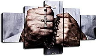 Rustic Artwork for Wall Canvas Art Christian Cross Pictures for Living Room Decorations Paintings a Man Praying with Rosary to God Poster Home Bedroom Decor Framed Ready to Hang(60''Wx32''H)