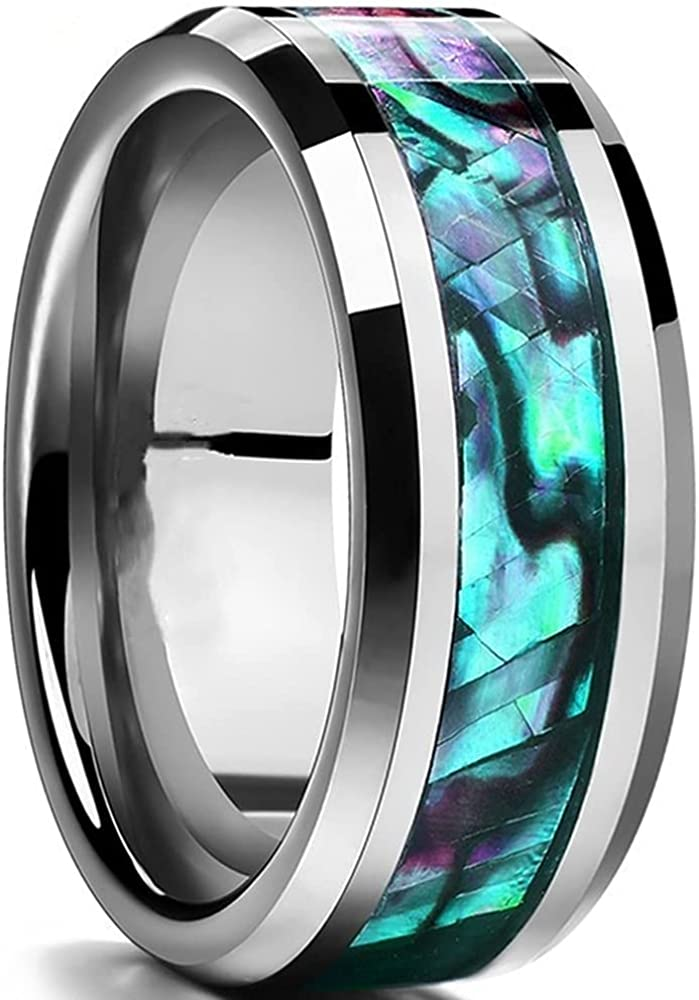 8mm Stainless Stee Clam Shell Inlay Rainbow Candy Color Wedding Band Ring