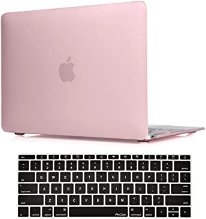 """ProCase MacBook 12 Inch Case A1534, Hard Case Rubberized Shell Cover with Silicone Keyboard Skin Cover for Apple MacBook 12"""" with Retina Display A1534 -Clear Pink"""
