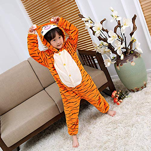 ALBRIGHT Kinder Overall Cosplay Cartoon Kostüm Tiger, Tier Onesie Nachthemd Schlafanzug Kapuzenpullover Nachtwäsche für Weihnachten Halloween Karnival Party 120(110-120cm)