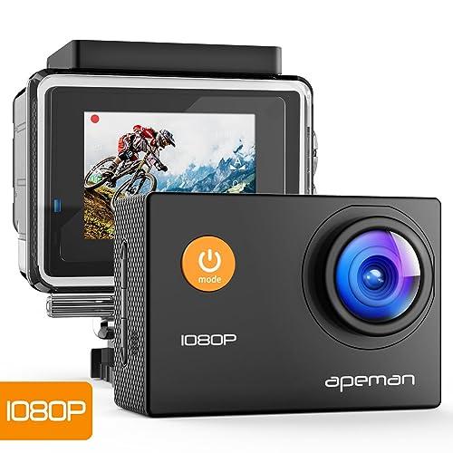 Caméra Apeman – Action Cam - 1080P – Full HD – sous-Marine, étanche – pour Casque – Angle de 170° – avec Accessoires
