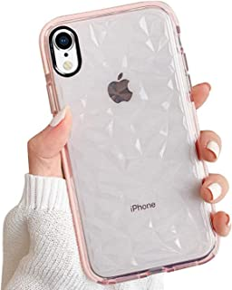 GYZCYQ iPhone XR Case, Crystal Clear 3D Diamond Pattern Full Protective Shockproof Cases Slim Soft TPU Air Cushion Technology Drop Protection Cover for Women Girls Compatible iPhone XR Pink