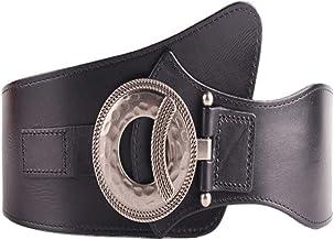 Women's Elastic Ultra Wide Pure Leather Belt Dress Decoration Casual (Color : Black)