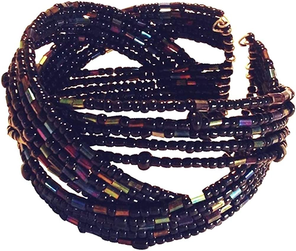 Wide Black and Dark Iridescent Braided Seed Bead Cuff Bracelet 1.5 Inches