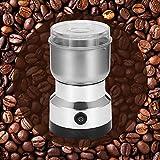DONGKIKI - Molinillo de café eléctrico, de acero inoxidable, multifunción, para especias, nueces, cereales, granos de café, con interruptor de seguridad