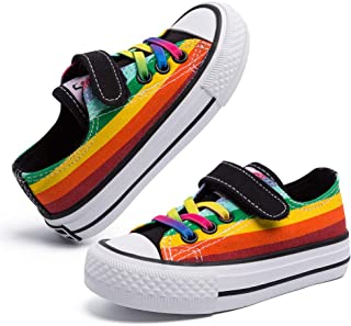 Sponsored Ad - Toddler Little Kids Slip On Boys Girls Canvas Sneakers Rainbow Color Kids Shoes