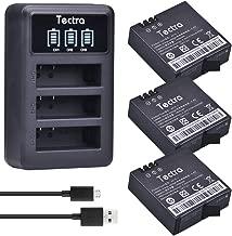 Tectra 3Pcs Xiaomi YI 2 4K AZ16-1 Replacement Battery + LED Display USB 3-Slots Charger for Xiaomi Yi 4K and New Yi Lite Action Cameras