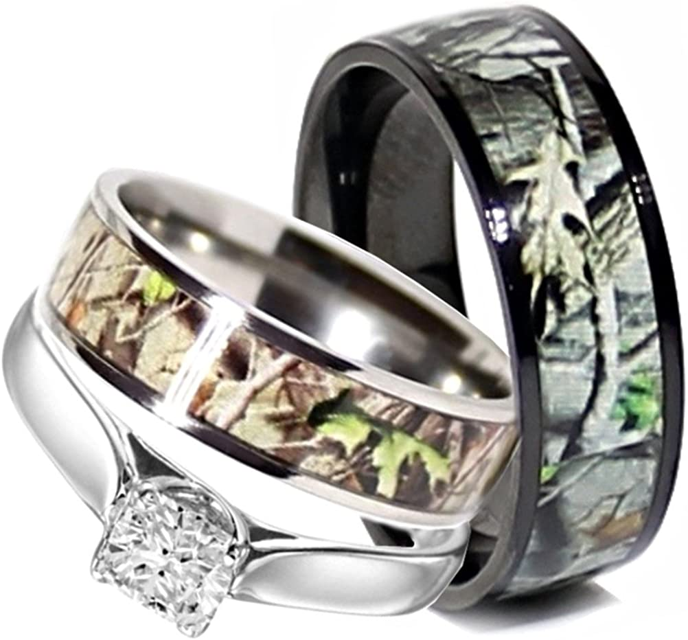 Camo Wedding Rings Set His OFFicial 3 Stainless Hers and Max 69% OFF Steel