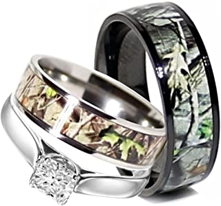Camo Wedding Rings Set His and Hers 3 Rings Set, Sterling Silver and Titanium