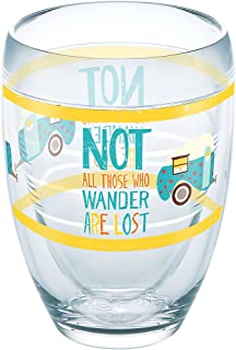 Tervis 1287126 Not All Those Who Wander Are Lost Tumbler with Wrap 9oz Stemless Wine Glass, Clear